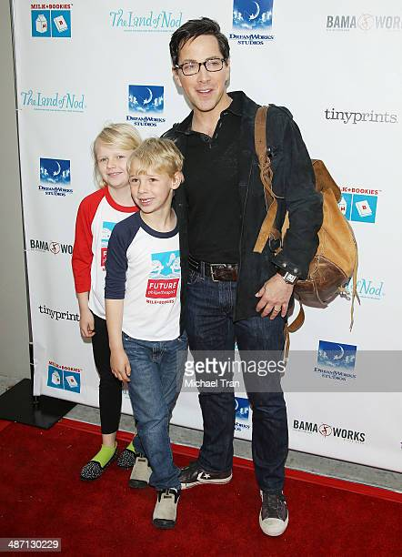 Dan Bucatinsky and children Eliza and Jonah arrive at the Milk Bookies Story Time Celebration held at Skirball Cultural Center on April 27 2014 in...