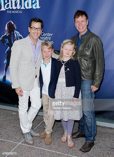 Dan Bucatinsky son Jonah Bucatinsky daughter Eliza Bucatinsky and Don Roos attends 'Matilda The Musical' opening night at Ahmanson Theatre on June 7...