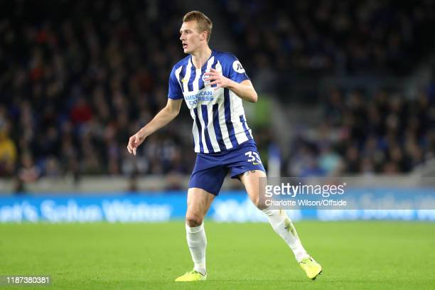 Dan Burn of Brighton during the Premier League match between Brighton Hove Albion and Wolverhampton Wanderers at American Express Community Stadium...