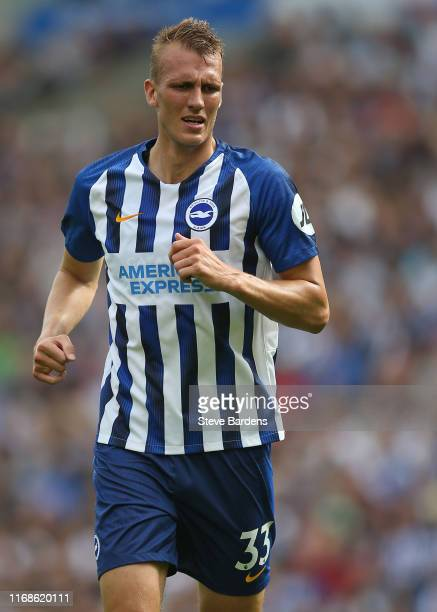 Dan Burn of Brighton Hove Albion during the Premier League match between Brighton Hove Albion and West Ham United at American Express Community...