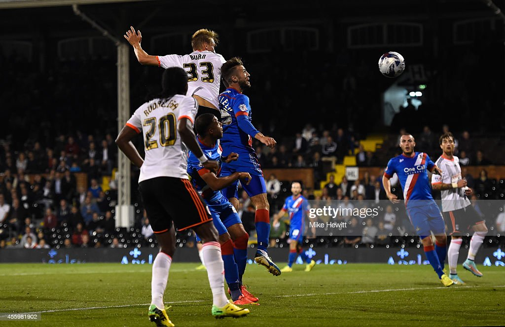 Dan Burn of Fulham scores his team's second goal during the Capital One Cup Third Round match between Fulham and Doncaster Rovers at Craven Cottage on September 23, 2014 in London, England.