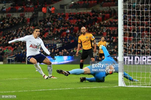 Dan Butler of Newport County scores an own goal during the FA Cup Fourth Round replay between Tottenham Hotspur and Newport County at Wembley Stadium...