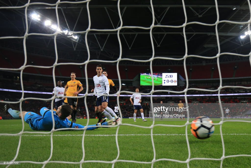Dan Butler of Newport County (not pictured) scores an own goal during the FA Cup Fourth Round replay between Tottenham Hotspur and Newport County at Wembley Stadium on February 7, 2018 in London, England.