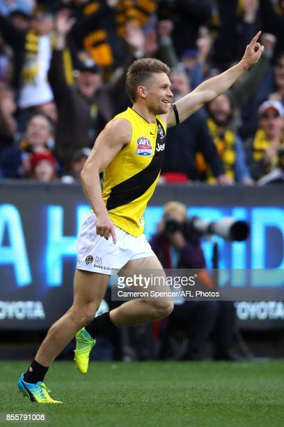 Dan Butler of the Tigers celebrates kicking a goal during the 2017 AFL Grand Final match between the Adelaide Crows and the Richmond Tigers at...