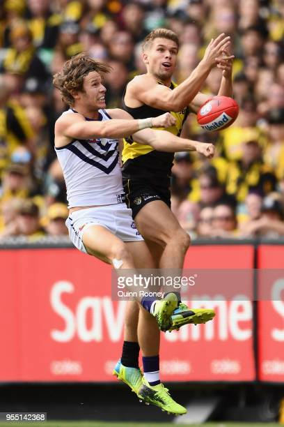 Dan Butler of the Tigers marks over the top of Ed Langdon of the Dockers during the round seven AFL match between the Richmond Tigers and the...