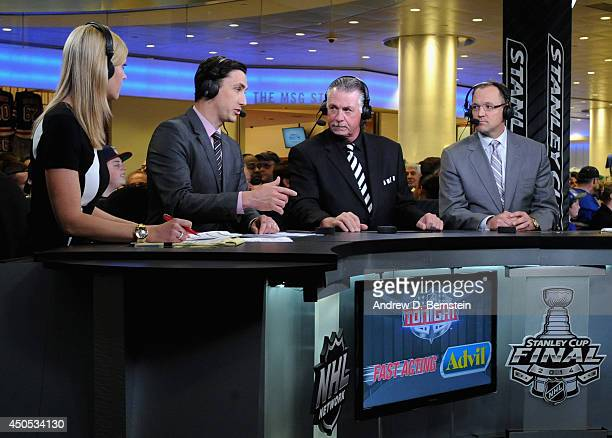 Dan Bylsma joins hosts Barry Melrose Mike Johnson and Kathryn Tappen on the set of NHL Network Live show before Game Three of the 2014 Stanley Cup...