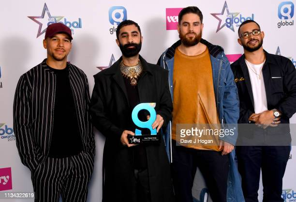 Dan Caplen presents Kesi Dryden Amir Amor and Piers Agget of Rudimental with The Most Played Song Award at the The Global Awards with Verycouk at...