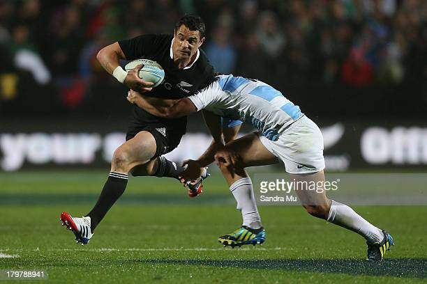 Dan Caret of the All Blacks in action during the Rugby Championship between the New Zealand All Blacks and Argentina at Waikato Stadium on September...