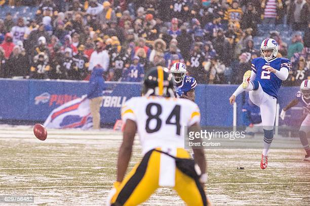 Dan Carpenter of the Buffalo Bills attempts an unsuccessful onside kick during the fourth quarter against the Pittsburgh Steelers on December 11 2016...