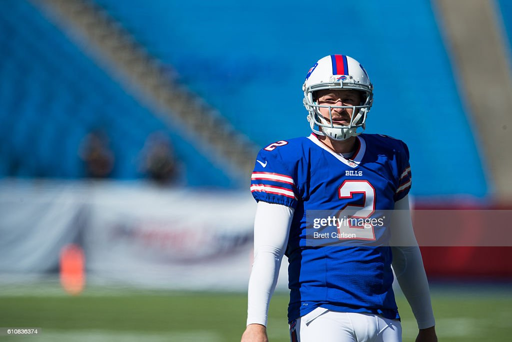 Discount Dan Carpenter of the Buffalo Bills warms up before the game against  for cheap
