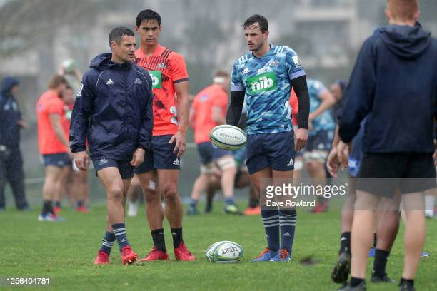 Dan Carter and Harry Plummer during a Blues Super Rugby training session at Mount Albert Grammar on July 16 2020 in Auckland New Zealand