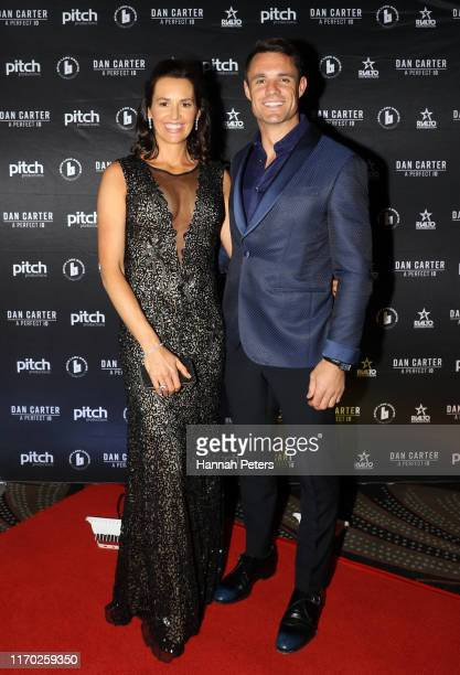 Dan Carter and his wife Honor Carter attend the world premiere of Dan Carter: A Perfect 10 on August 26, 2019 in Auckland, New Zealand.