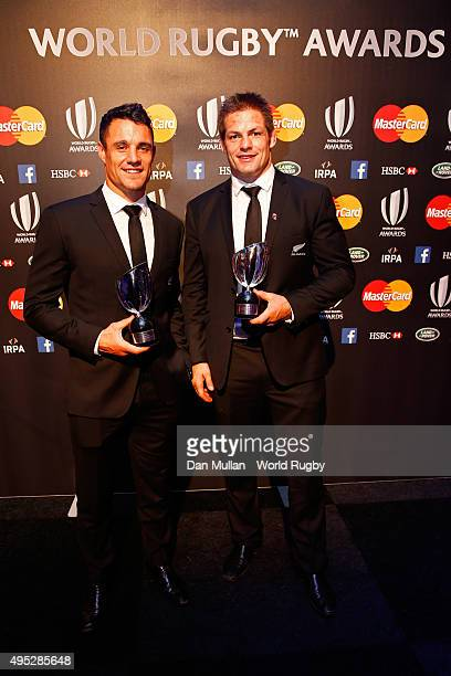 Dan Carter and Richie McCaw of New Zealand pose for the cameras during the World Rugby Awards 2015 at Battersea Evolution on November 1 2015 in...