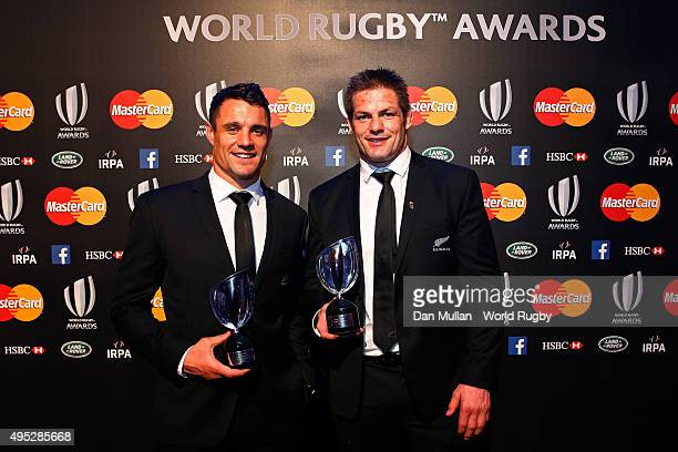 Dan Carter and Richie McCaw of New Zealand pose for the cameras during the World Rugby via Getty Images Awards 2015 at Battersea Evolution on...