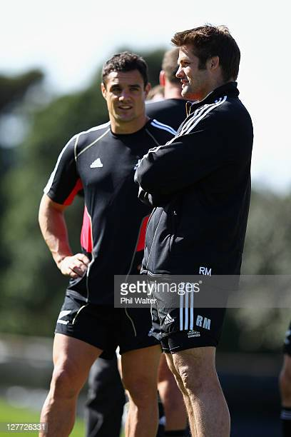 Dan Carter and Richie McCaw of the All Blacks look on during a New Zealand All Blacks IRB Rugby World Cup 2011 captain's run at Rugby League Park on...