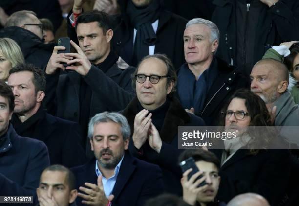 Dan Carter Didier Deschamps below CEO of Free Xavier Niel below right CEO of ventepriveecom JacquesAntoine Granjon attend the UEFA Champions League...