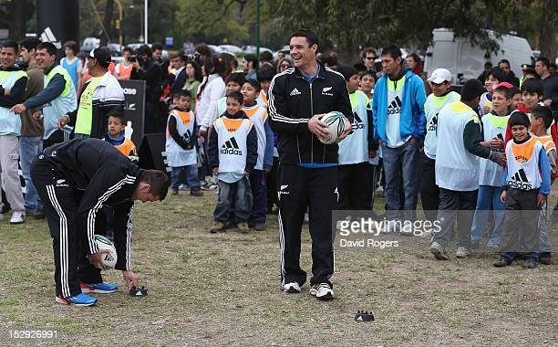 Dan Carter holds onto the ball during an All Black coaching session held on September 28 2012 in Buenos Aires Argentina