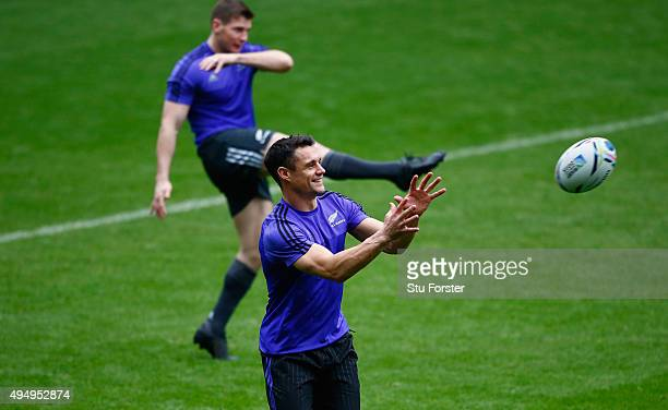 Dan Carter in action during a New Zealand All Blacks kicking practice ahead of the World Cup Final against Australia at Twickenham on October 30,...