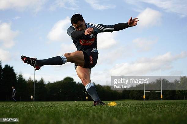 Dan Carter kicks during the All Black training at the University of Glamorgan rugby grounds October 31 2005 in Cardiff Wales