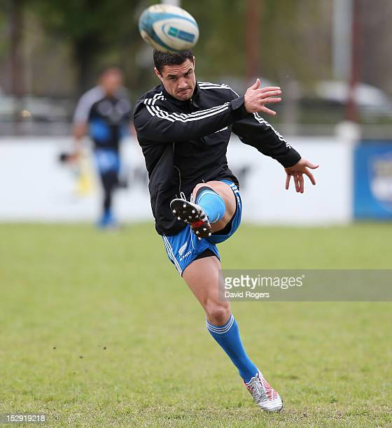 Dan Carter kicks the ball upfield during the New Zealand All Blacks captain's run at Centro Naval on September 28 2012 in Buenos Aires Argentina