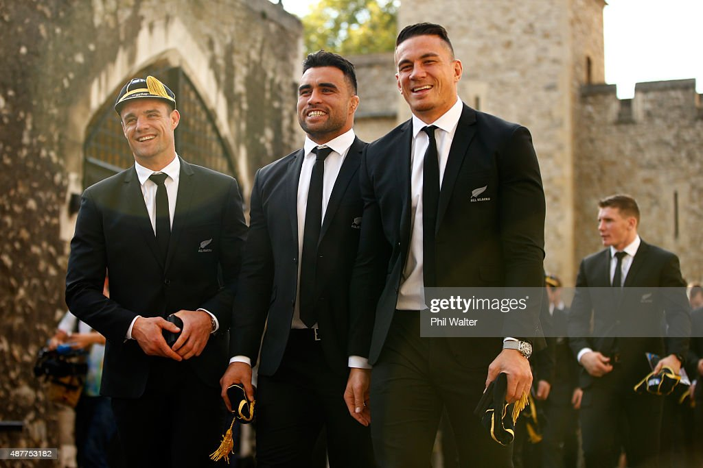Dan Carter, Liam Messam and Sonny Bill Williams of the New Zealand All Blacks following their RWC 2015 Welcome Ceremony at the Tower of London on September 11, 2015 in London, England.