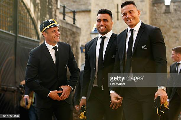 Dan Carter, Liam Messam and Sonny Bill Williams of the New Zealand All Blacks following their RWC 2015 Welcome Ceremony at the Tower of London on...