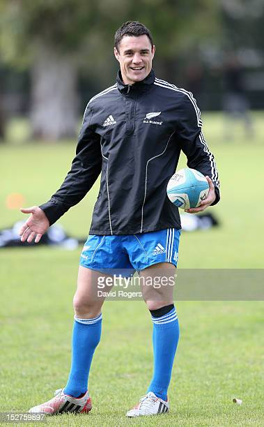 Dan Carter looks on during a New Zealand All Blacks training session held at St George's College on September 25 2012 in Buenos Aires Argentina