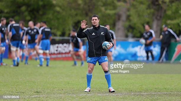 Dan Carter looks on during the New Zealand All Blacks captain's run at Centro Naval on September 28 2012 in Buenos Aires Argentina
