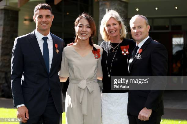 Dan Carter, Lydia Ko, Barbara Kendall and Glenn Ashby pose for a portrait after receiving their New Zealand Order of Merit's for services to sports...
