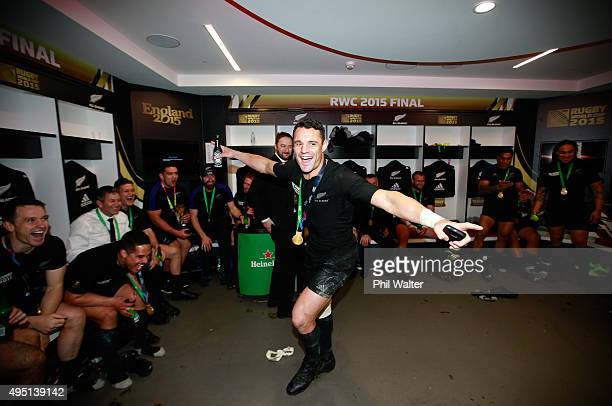 Dan Carter of New Zealand celebrates in the dresing room following victory in the 2015 Rugby World Cup Final match between New Zealand and Australia...