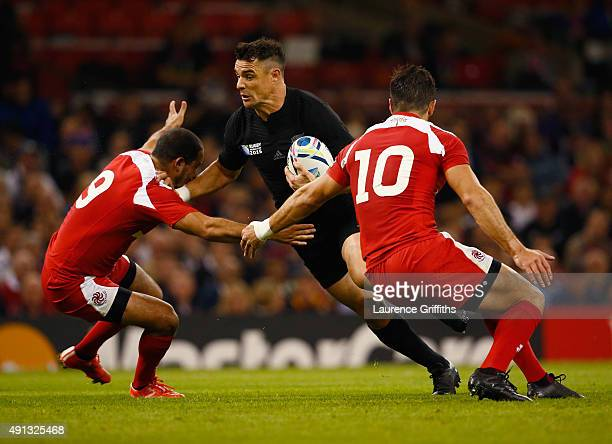 Dan Carter of New Zealand in action during the 2015 Rugby World Cup Pool C match between New Zealand and Georgia at Millennium Stadium on October 2...