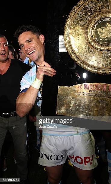 Dan Carter of Racing 92 celebrates winning the Final Top 14 between Toulon and Racing 92 at Camp Nou on June 24 2016 in Barcelona Spain