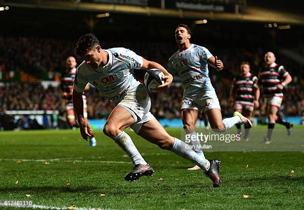 Dan Carter of Racing 92 crosses the line to score his side's first try during the European Rugby Champions Cup match between Leicester Tigers and...