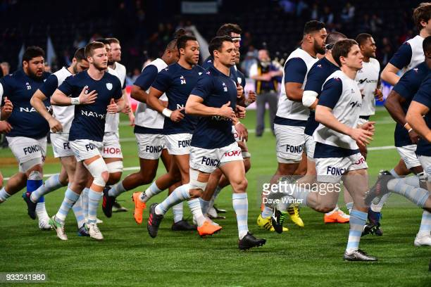Dan Carter of Racing 92 warms up before the Top 14 match between Racing 92 and Stade Francais at U Arena on March 17 2018 in Nanterre France