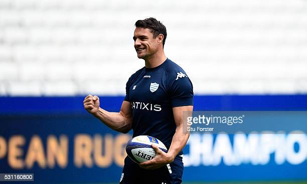 Dan Carter of Racing reacts during the Racing 92 Captain's Run ahead of the European Rugby Champions Cup Final against Saracens at Grande Stade de...