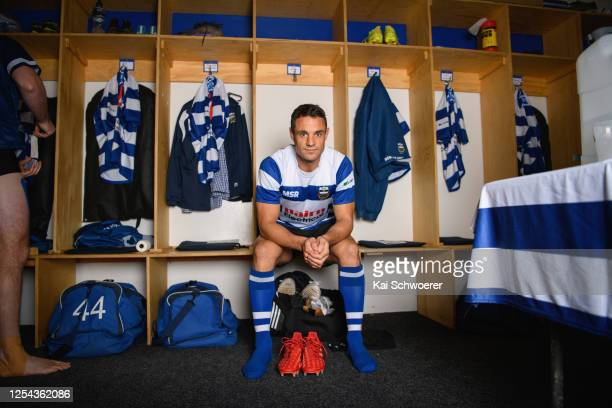 Dan Carter of Southbridge poses in the dressing room prior to the Ellesmere Premier Competition match between Southbridge RFC and West Melton RFC on...