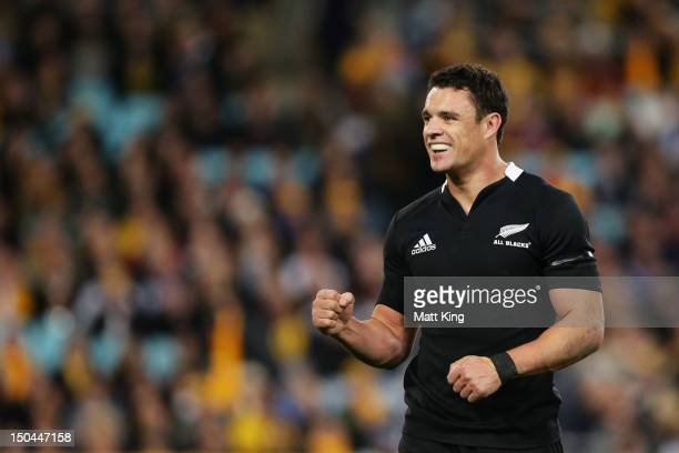 Dan Carter of the All Blacks celebrates at fulltime during The Rugby Championship Bledisloe Cup match between Australia and New Zealand at ANZ...