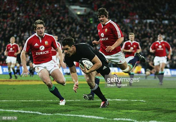 Dan Carter of the All Blacks goes over to score during the second test match between New Zealand All Blacks and British and Irish Lions at the...