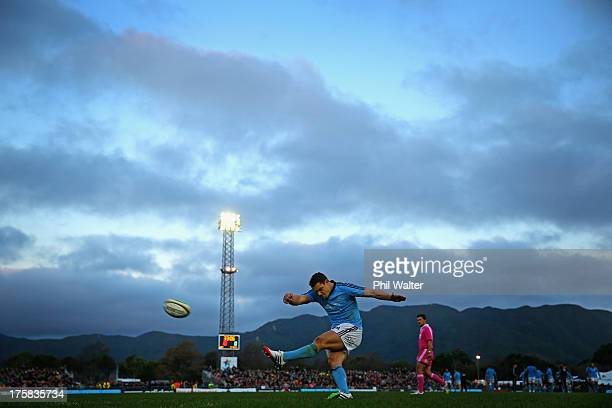 Dan Carter of the All Blacks kicks a conversion during the All Black training match against Canterbury at the Hutt Recreation Ground on August 9 2013...