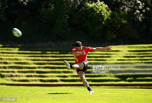 Dan Carter of the All Blacks kicks during a New Zealand All Blacks IRB Rugby World Cup 2011 training session at Rugby League Park on September 27,...