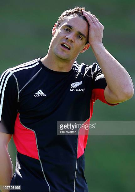 Dan Carter of the All Blacks looks on during a New Zealand All Blacks IRB Rugby World Cup 2011 captain's run at Rugby League Park on October 1, 2011...