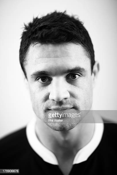 Dan Carter of the All Blacks poses during a New Zealand All Blacks portrait sessoin on August 10 2013 in Wellington New Zealand