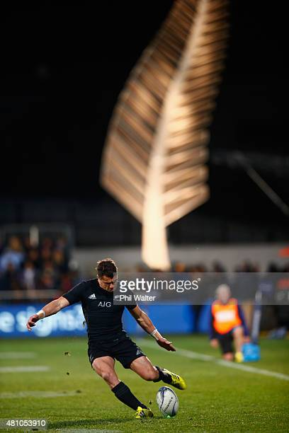 Dan Carter of the All Blacks takes a kick during The Rugby Championship match between the New Zealand All Blacks and Argentina at AMI Stadium on July...