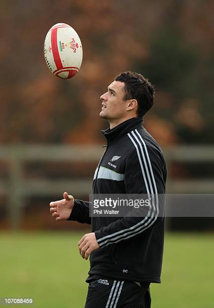 Dan Carter of the All Blacks throws up the ball during a New Zealand All Blacks Training Session at the University of Bath on November 23 2010 in...