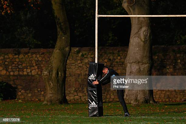 Dan Carter of the All Blacks warms up during the New Zealand All Blacks training session at Sophia Gardens on November 18, 2014 in Cardiff, Wales.