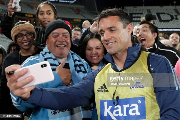 Dan Carter of the Blues meets fans after the round 1 Super Rugby Aotearoa match between the Blues and the Hurricanes at Eden Park on June 14, 2020 in...