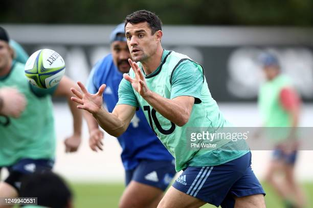 Dan Carter of the Blues passes during a Blues Super Rugby training session at Blues HQ on June 16, 2020 in Auckland, New Zealand.