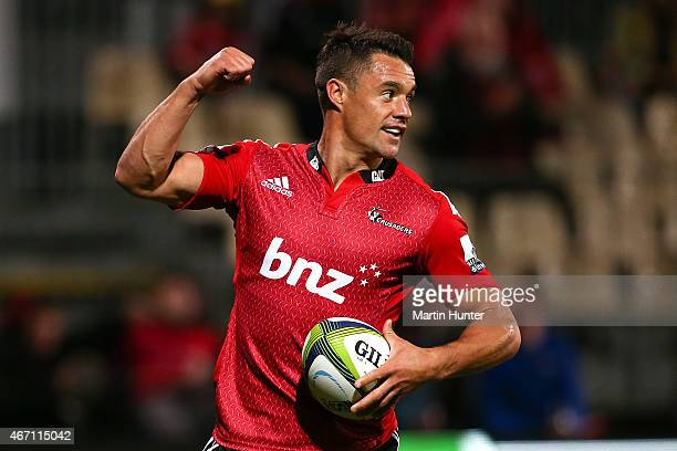 Dan Carter of the Crusaders celebrates scoring a try during the round six Super Rugby match between the Crusaders and the Cheetahs at AMI Stadium on...