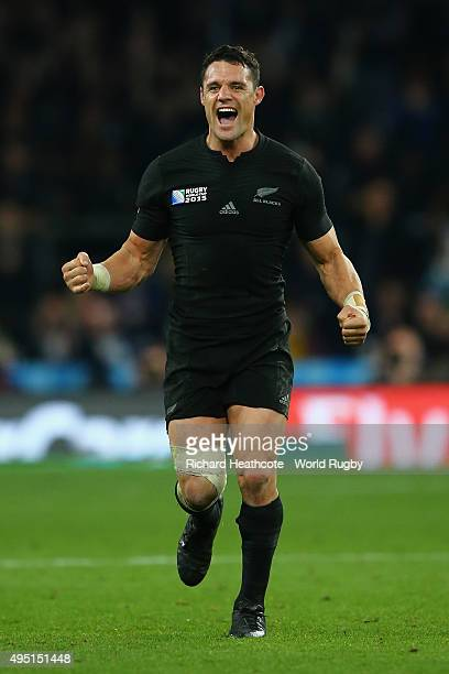 Dan Carter of the New Zealand All Blacks celebrates victory after the 2015 Rugby World Cup Final match between New Zealand and Australia at...