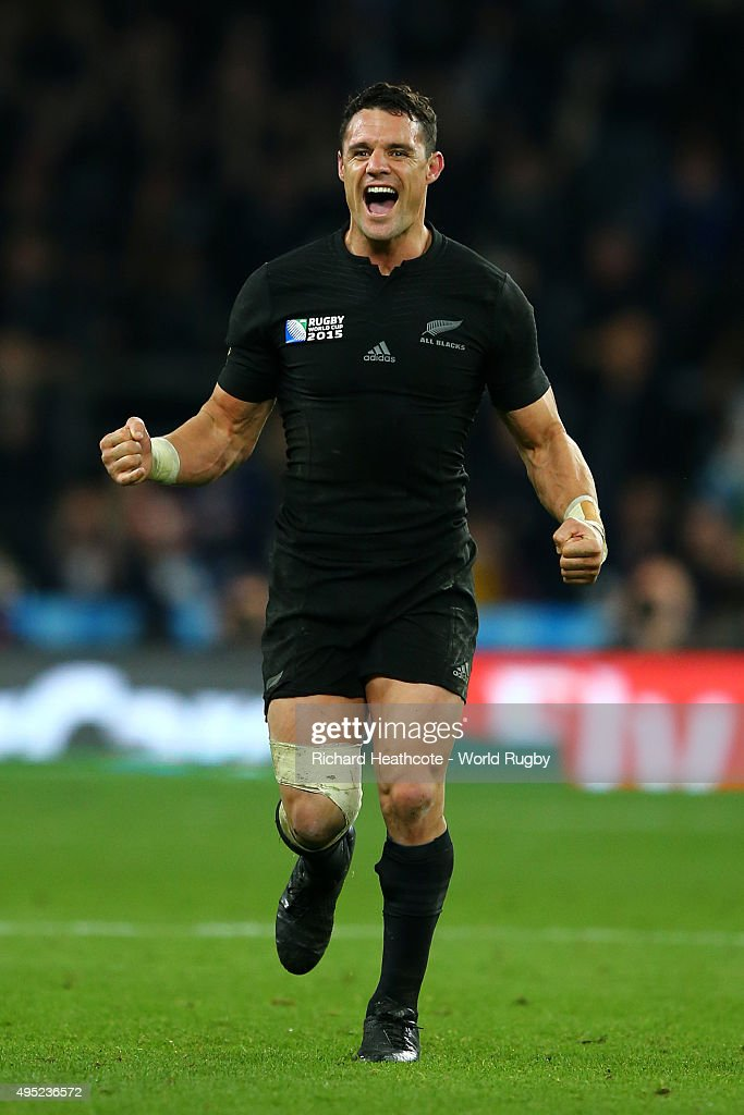 Dan Carter of the New Zealand All Blacks celebrates victory at the final whistle during the 2015 Rugby World Cup Final match between New Zealand and Australia at Twickenham Stadium on October 31, 2015 in London, United Kingdom.
